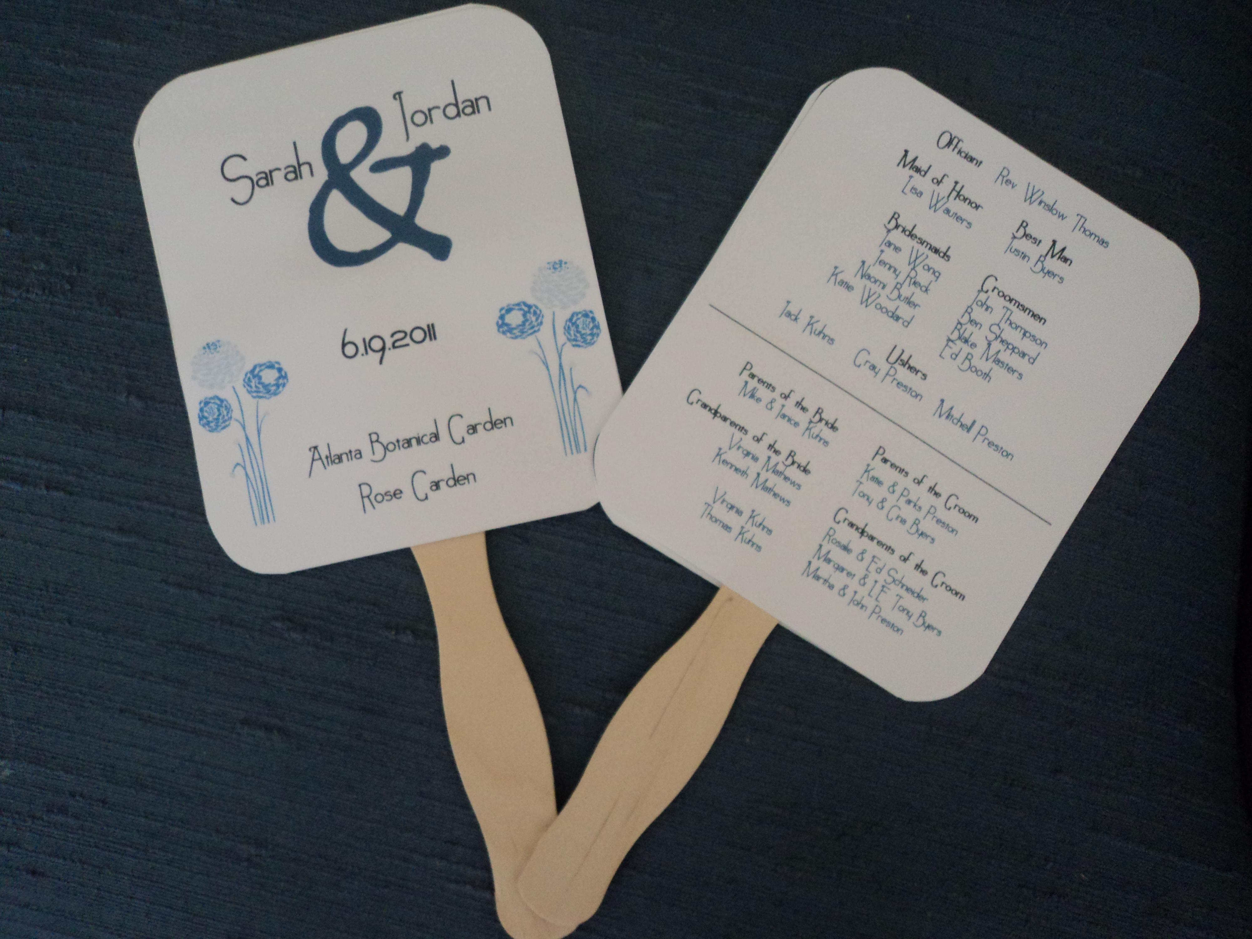 Wedding Program Fans. Wedding Ceremony Program Paddle Fan Timeline ...