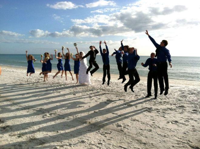 Beach photo jumping
