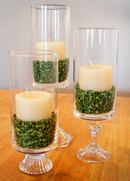 Candles and green split peas