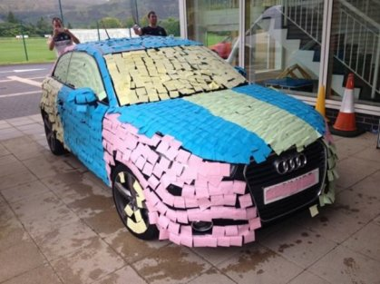 marry me car covered with notes