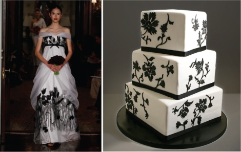 Black and white carolina-herrera-wedding-dress-fashion-inspired-cake