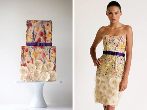 multi colored short dress carolina-herrera-dress-fashion-inspired-cake-4