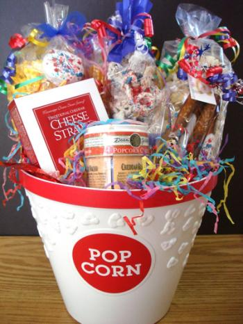 popcorn bowl with candy