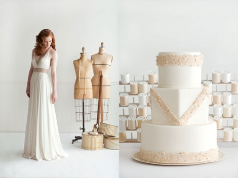 Reem Acra dress and cake