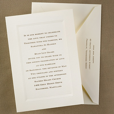 Traditional panel invitation. Usually will be engraved or similar process like thermography. Formal invitation.
