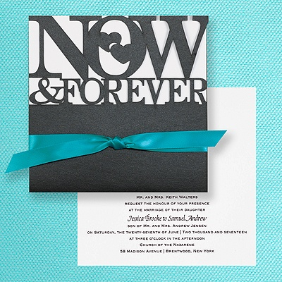 The bold letters and colors on this invitation would signify a slightly less formal event, but cocktail attire would be appropriate.