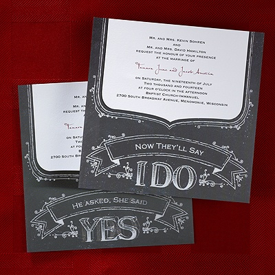 Rustic/Vintage design.  This particular invitation would lend itself to a more formal to semi-formal wedding.