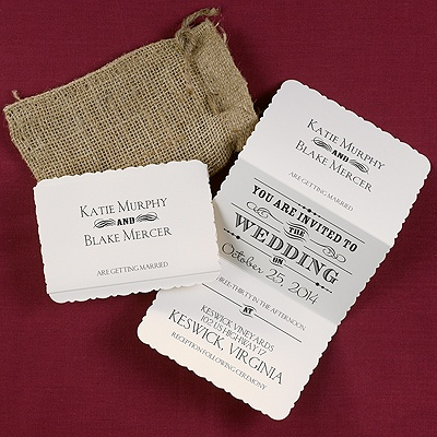 Unique Rustic invitation.  This invitation would be considered less formal perhaps semi-formal but could be casual.