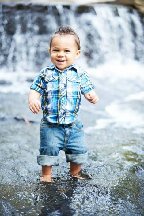 Brayden huge smile in water