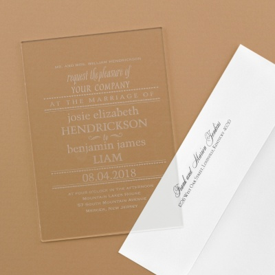 Acrylic invitation with envelope for mailing