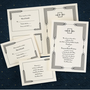 Art Deco inspired invitation.  Set is created with perforations for the Response Card.