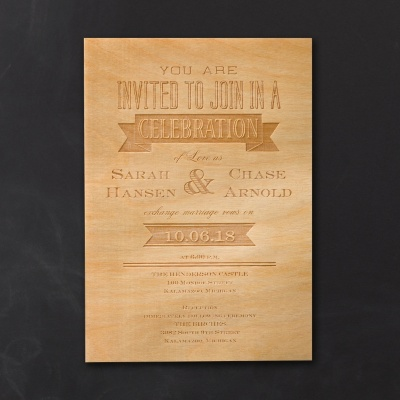 Etched Wood Save the Date