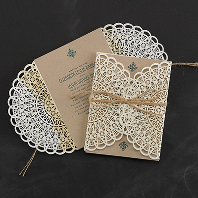 Laser cut lace invitation in a vintage design