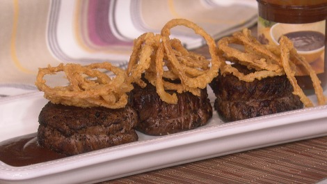 Cocoa and Coffee Encrusted Steak with Chocolate Chipotle BBQ Sauce and Frizzled Onions
