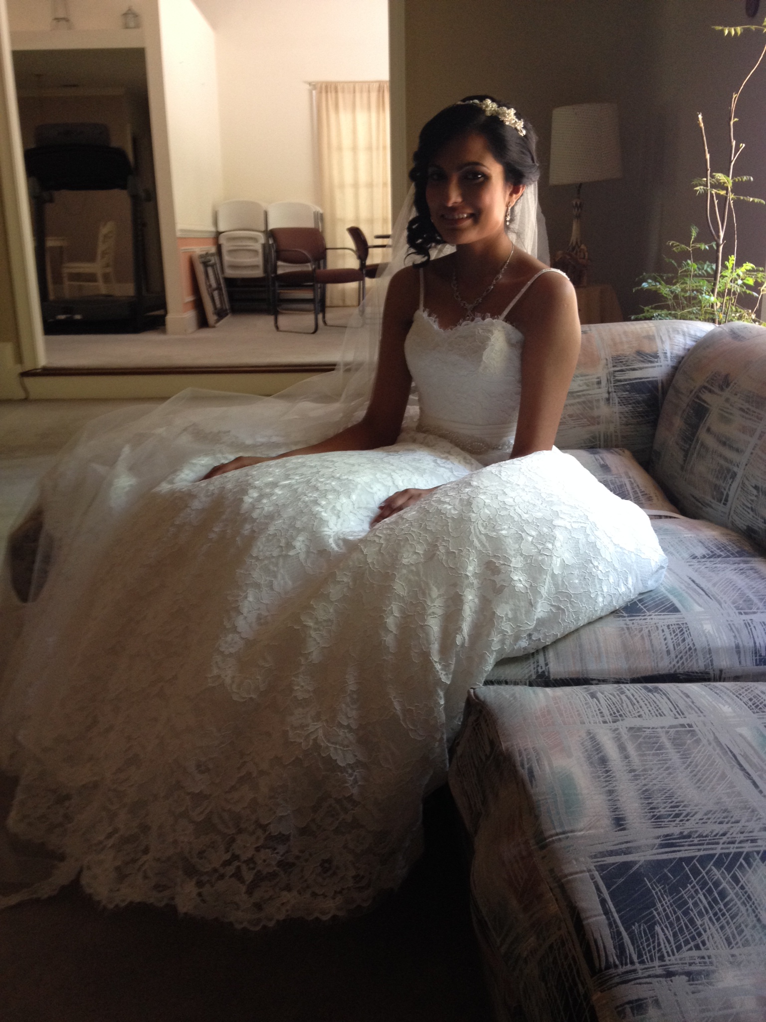 Bride on sofa