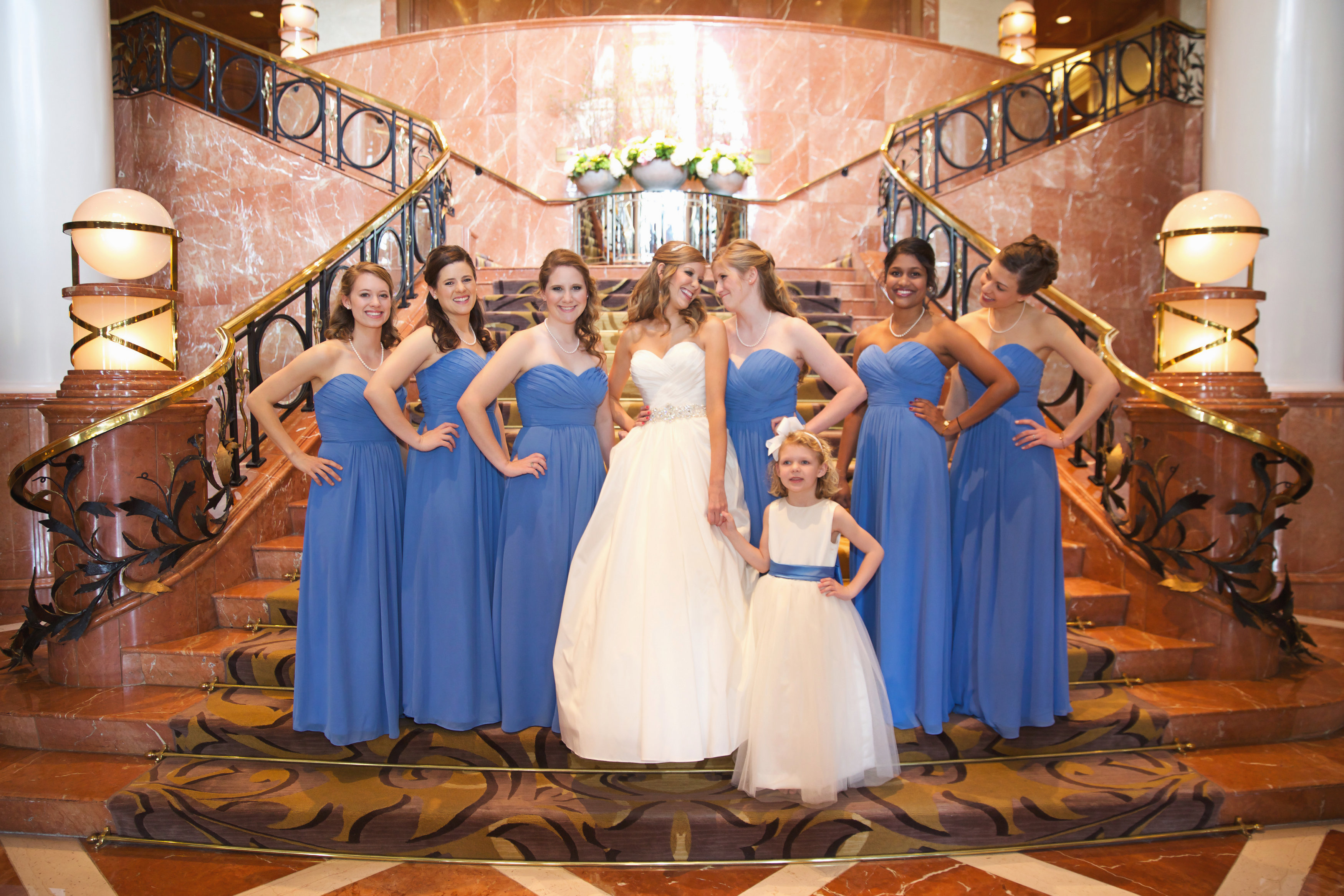 Bridal Party on Grand Stairs at the Four Seasons