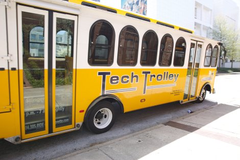 Wedding Party and Guests rode in style on the Tech Trolley
