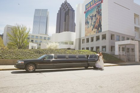 Bride arriving at the church in an Atlantic Limo