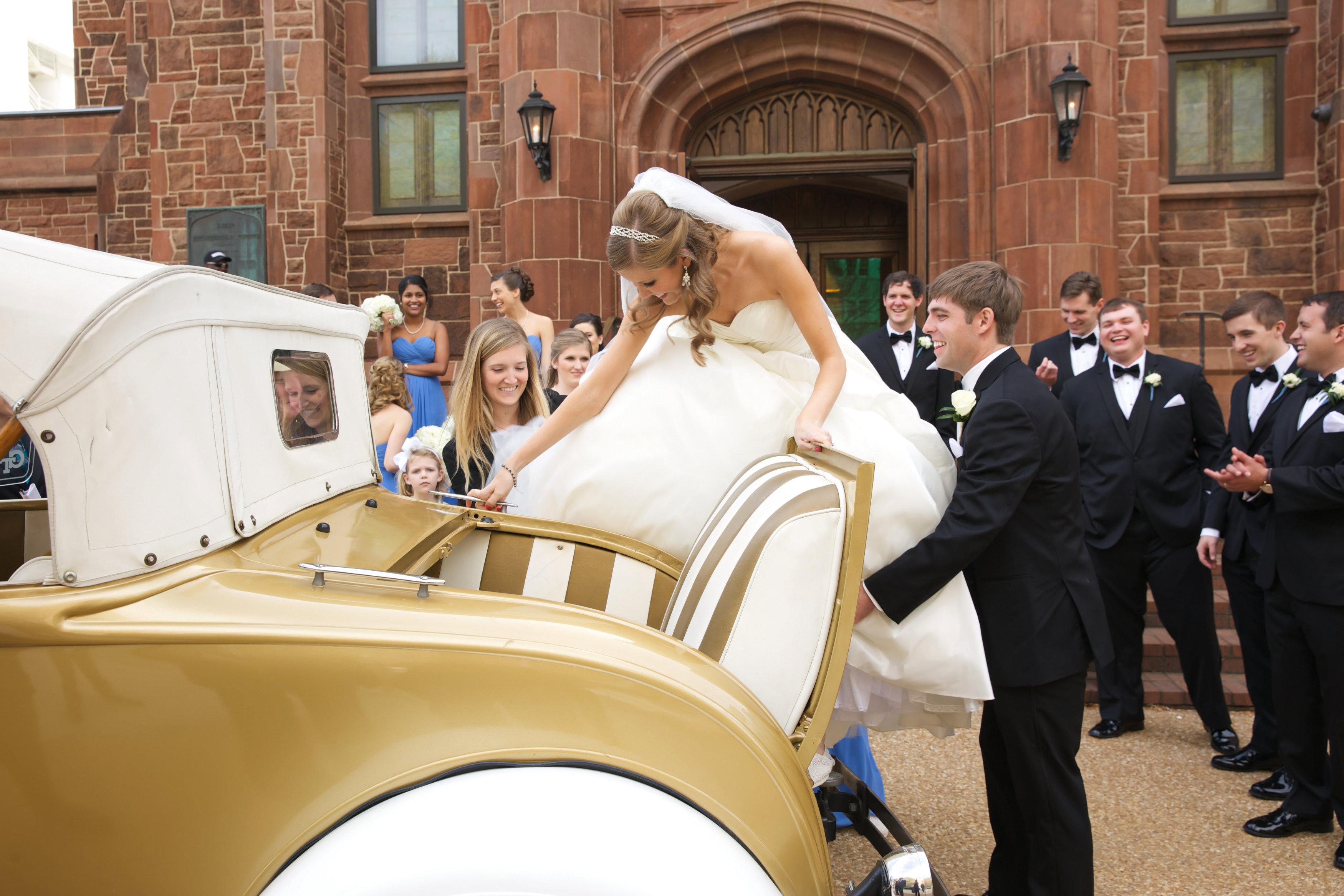 Bride getting into the GT Ramblin Wreck