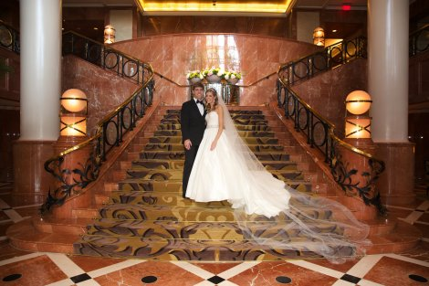 Couple on the Grand Staircase of the Four Seasons