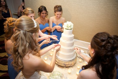 Bride and Bridesmaids ready for the Cake Pull