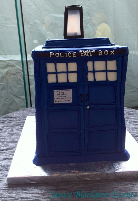 Front view of Tardis cake by Classic C heesecakes and Cakes