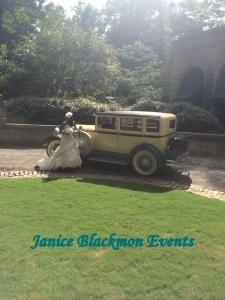 Vintage car and bride