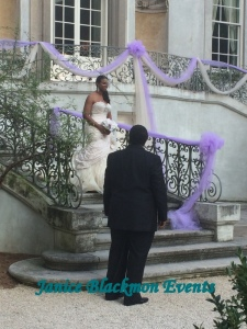 Bride's Father waiting at bottom of stairs