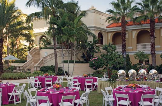 Ritz Carlton Sarasota reception setup on the Grand Lawn