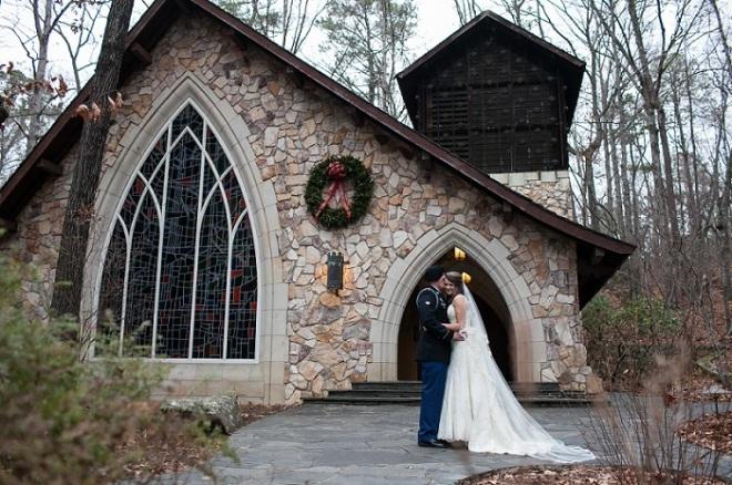 Bride and Groom outside Chapel